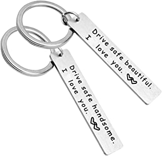 YiyiLai Drive Safe Stainless Steel Couples Valentine's Day Pendant Keychain Key Rings for Lover