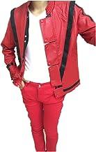 Shuanghao Leather Thriller Red Adecuado para fanáticos de Michael Jack Jacket Pants y Gratis Billie Jean Glove