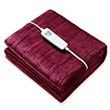Electric Heated Throw Blanket Queen Size 62' x 84' | 6 Levels Fast Heating & Machine Washable | Full Body Warming Soft Flannel Sofa Bed Blankets with Auto-off Overheating Protection 8H Timer | Red