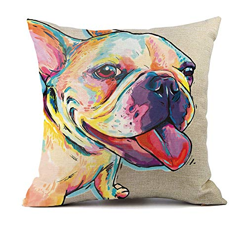 """Redland Art Cute Pet Frenchie Dog Pattern Throw Pillow Covers Linen Cushion Cover Cases Pillowcases Sofa Home Decor 18""""x 18""""Inch (45 x 45cm)"""