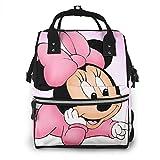Mochila para pañales - Rosa Minnie Mouse308-2412 Multifunción Impermeable Mochila de Viaje Bolsas de Pañales