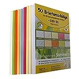 Paper24 50 farbige B6-Briefumschläge (sortiert) - 125 x 176 mm, 120 g/m², je 5 Briefumschläge in 10 verschiedenen Farben, Umschläge mit spitzer Lasche, feuchtklebend