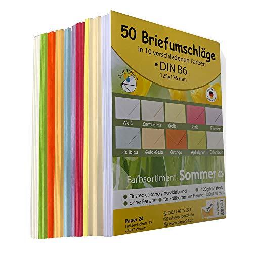 Briefumschläge bunt DIN B6 125 x 176 mm 50 Stück 5x10 sommerfrische Farben Ideal für Hochzeit, Geburtstag, Grußkarten und Einladungen mit Einstecklasche 88621
