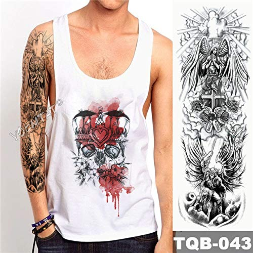 tzxdbh 5pcs Big Arm Brazo Tatuaje maorí tótem Impermeable Energía Etiqueta Samurai Guerrero Ángel Hombre Negro Todos 5Pcs-