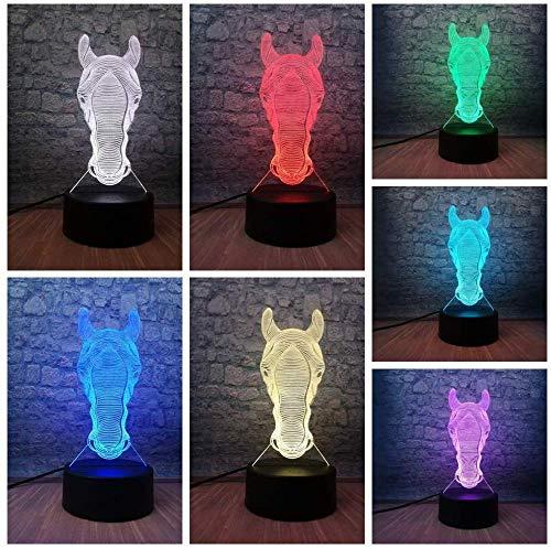 3D Luz De Noche Led Deco LED Lámpara Lago de cabeza de caballo para sala de estar, cama, bar, regalo juguetes para niños y niñas Con interfaz USB, cambio de color colorido
