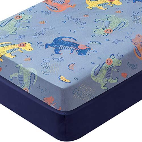 Wowtina Dinosaur Microfiber Crib Sheets Set Soft Toddler Sheets for Baby Boy Breathable Baby Sheets Fitted Crib Sheet Fits Standard Crib (28 x 52 inch) 2 Pack Dinosaur & Navy Blue