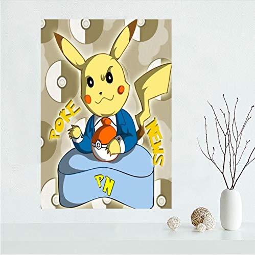 mohanshop Nizza Personalizzato Pokemon Pikachu Tela Poster Stampa Pittura Arte Parete Tela Poster Panno Stampa Fai da Te Tessuto Poster A348 (40X50Cm) Senza Cornice