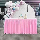NSSONBEN Falda de mesa rosa de poliéster para fiestas de bebés, baby shower, niñas, bodas, cumpleaños, cumpleaños infantiles, 275 x 77 cm