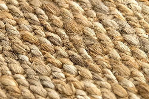 HAMID Jute Teppich - Granada Teppich 100% Natürliche Jutefaser - Weicher Teppich und Hohe Festigkeit - Handgewebt - Wohnzimmer, Esszimmer, Schlafzimmer, Flurteppich - Natürlich (110x60cm) - 8