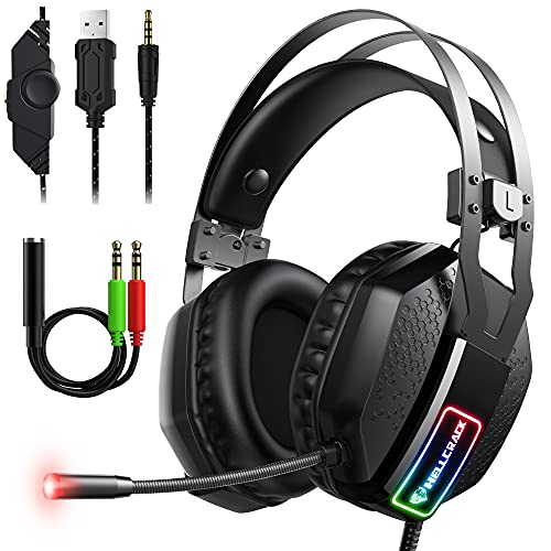 Mifanstech V-10 Gaming Headset for Xbox One PS4 PS5 PC with 7.1 Surround Sound and 50mm Drivers, Over Ear 3.5mm Stereo Wired Headphones with Noise Cancelling Mic for Laptop Mac Nintendo