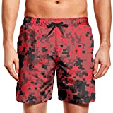 Rkouquhuaqi Mens Swim Trunks Red Digital Camo Summer Cool Quick Dry Board Shorts with Mesh Lining