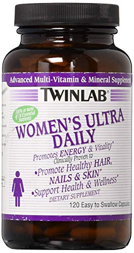 Twinlab Women's Ultra Daily Multivitamin | 120 Capsules| Dietary Supplement Supports Energy Production and Promotes Healthy Hair, Nails and Skin