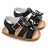Meckior Infant Baby Girls Summer flower Sandals Bowknot T-Strap Glittery Open-Toed butterfly Shoes Soft Non-Slip Sole Princess Flat Shoes