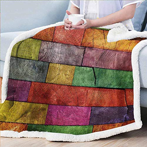ParadiseDecor Rustic Throw Blanket for Couch Super Soft Throw Kids Blanket Vivid Colored Several Equally Pieced Timber Construction Vertical Column Countryside Multicolor 60W x 80L inches