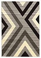 Linon Claremont Collection xfts Gray Synthetic Rugs, 5ft x7ft, Black 商品カテゴリー: ラグ カーペット [並行輸入品]