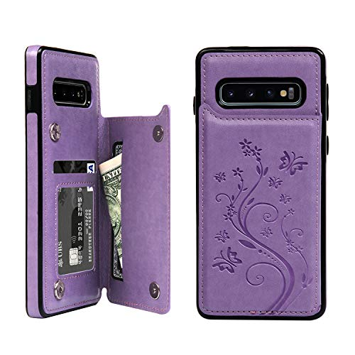 SUPWALL Galaxy S10 Case Wallet, Case with Card Holder Embossed Butterfly Slim Folio Leather Cover Shockproof Kickstand with Credit Card Slot Protective Skin for Galaxy S10, Purple