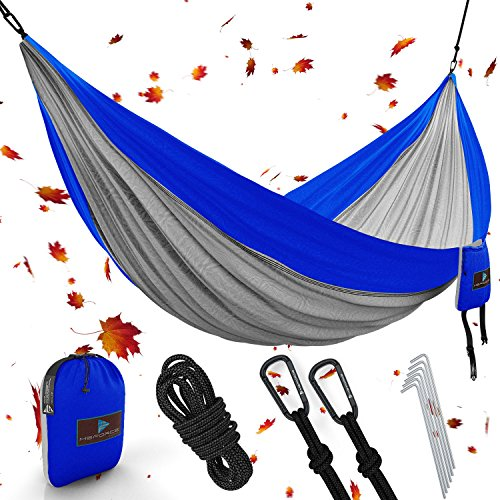 MsForce Double Camping Hammock Waterproof Lightweight Parachute 240T Portable Hammock, 2 Heavy-Duty 1500 lbs Capacity Carabiners, with 2 Ropes for Outdoor, Backpacking & Indoor 118' L78 W