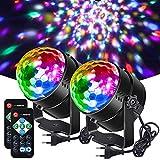 Litake 2020 - Bola de discoteca (6 colores, 6 W, 7 colores activados, mando a distancia, luz estroboscópica para fiestas, bares, clubes, festivales, bodas, 2 unidades)