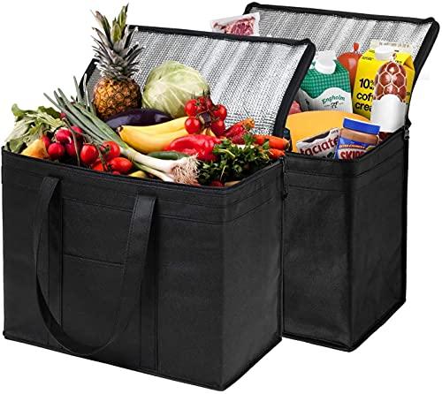 CYANQ Bolsas De Compras Reutilizables Aisladas para La Entrega De Alimentos, Cremallera Robusta, Plegable, Lavable, Resistente, De Alta, Completamente Reforzado Paquete 2