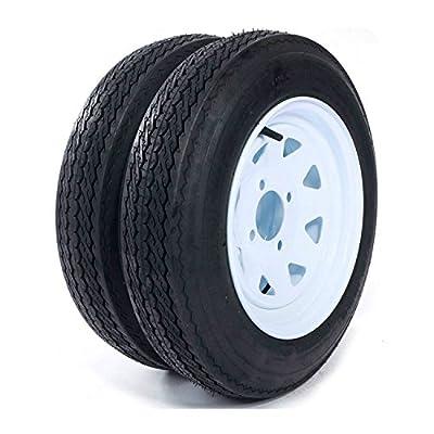 "Roadstar 2 New Trailer Tires & Rims 4.80-12 480-12 4.80 X 12 12"" 4 Lug Wheel White Spoke -P811"