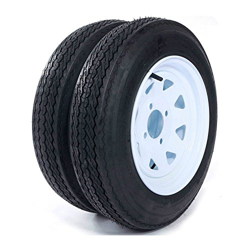 "Roadstar 2 New Trailer Tires & Rims 4.80-12 480-12 4.80 X 12 12"" 4 Lug Wheel White Spoke -P811"