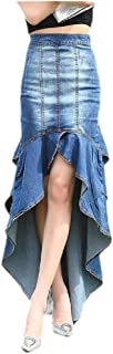 SportsX Women's Denim Various Hem Trim-Fit Mid Waist Trendy Long Skirt