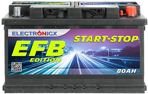 Electronicx EFB - Batería de coche 12 V 80 Ah Start Stop