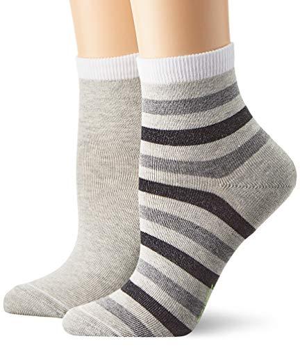 ESPRIT Damen Socken Colorful Stripe 2er Pack - Baumwollmischung, 2 Paar, Grau (Storm Grey 3820), Größe: 39-42