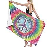 CASU Beach Towel Colorido Logotipo pacifista rendido Mujeres y Hombres Toalla de Playa Microfibra súper Absorbente Personalidad Toallas de baño Secado rápido Manta de Playa
