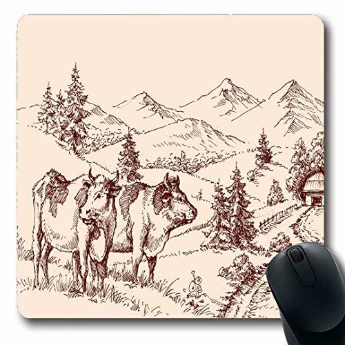 Tappetini per il mouse schizzo mucche fattoria disegno etichetta lattiero-caseario natura cibo bevanda annata manzo agricoltura design agricolo forma oblunga antiscivolo gioco tappetino per il mouse g