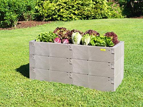 JUWEL Hochbeet Timber 3er-Set (Variable Aufbauweise, 100% recyclebar, Gartenbeet aus Kunststoff) 20821, grau