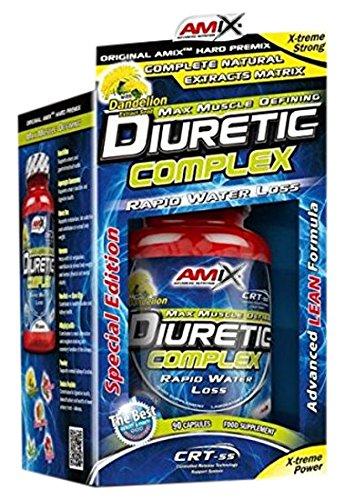 AMIX - Quemador de Grasa - Diuretic Complex - 90 Cápsulas - Suplemento con Extractos Vegetales y Vitaminas - Máxima Eliminación de Líquido - Complemento para Ayudar a Perder Peso