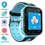 Impermeable Smartwatch para Niños, Reloj inteligente Phone con LBS Tracker SOS Chat de voz Cámara De...
