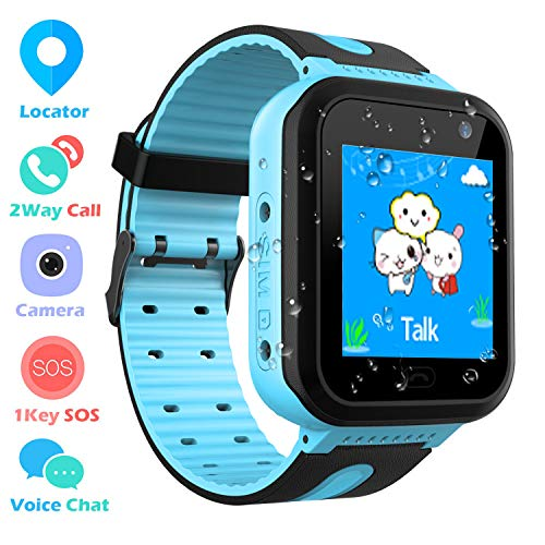 Impermeable Smartwatch para Niños, Reloj inteligente Phone con LBS Tracker SOS Chat de voz Cámara Despertador Podómetro Juego Cálculo para Regalos Estudiantes Compatible con iOS Android, Azul