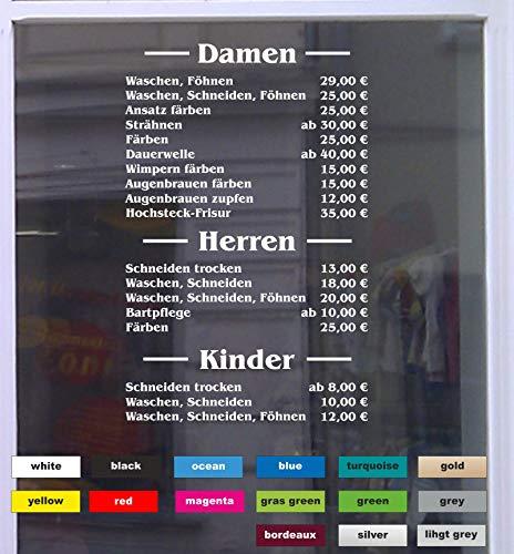Don Cappello Preisliste Friseur Schaufensterbeschriftung Aufkleber Werbung Laden Geschäft 01 Weiß Breite bis 100 cm