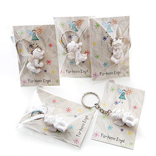 10 Stück kleine weiße Mini-Engel Schutzengel Engel-Anhänger Weihnachten Hochzeit Kinder-Geburtstag 3,5 cm Gips + Mini-Karte FÜR KLEINE ENGEL - Mitgebsel give-away bunt