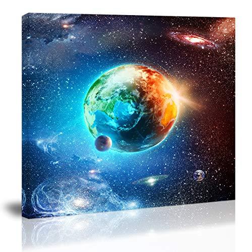 Blue Earth in The Space Wall Art Decor Galaxy Modern Artwork Canvas...
