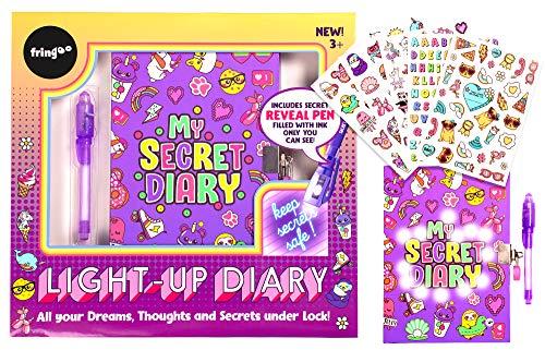 Fringoo - Diario segreto per ragazze con penna a inchiostro invisibile, 2 chiavi, lucchetto e 5 fogli adesivi, bellissimo set di quaderni per ragazze e penne per segreti per ragazze