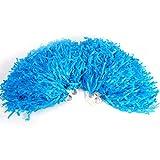 Dioche Porristas de Pom, Pompones de Animadora Bola de Flor Metálica Pompones de Anillo de Plástico para Grupo de Animadores y Baile(Azul)