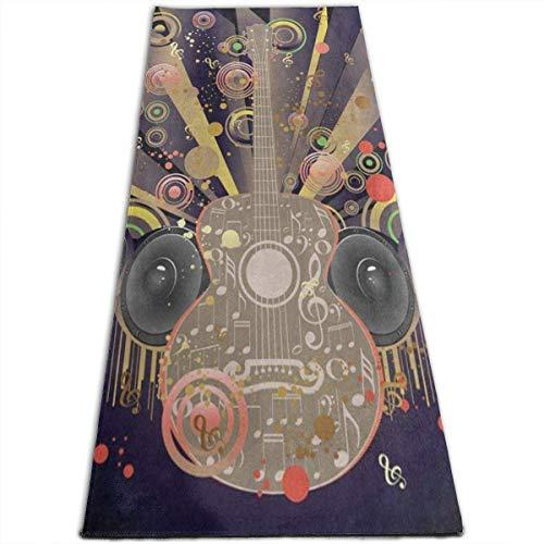 NA Retro Grunge Muziek Opmerking met Gitaar Yoga Mat-All-Purpose Hoge Dichtheid Antislip Oefening Speciale Yoga Matten voor Alle soorten Yoga, Pilates & Vloer Oefeningen (70