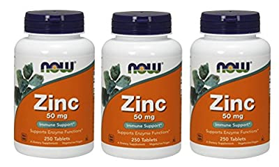 Now Foods Zinc Gluconate 50mg Tablets, 250-Count
