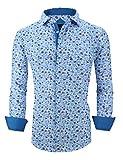 Monlando Mens Printed Dress Shirts Wrinkle Free Long Sleeve Regular Fit Fashion Shirt, Blue1580, Small