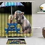 AYISTELU Duschvorhang Sets mit rutschfesten Teppichen,Lustiges Humor-Haustier EIN süßes Schwein isst eine Eistüte unter einem Regenschirm, Badematte + Duschvorhang mit 12 Haken