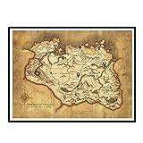 Swarouskll Mapa de Skyrim, póster artístico de pared, pintura en lienzo, imágenes de decoración del hogar, impresión en lienzo, pintura -50X70cm, sin marco, 1 Uds.