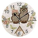 Gokruati Reloj de Pared silencioso,Reloj de Cocina,Relojes de Cuarzo silencioso Que no Hace tictac,para Sala de Estar,dormitorios,(Diámetro: 25 cm),San Valentín búhos Pared Rosas y Mariposas