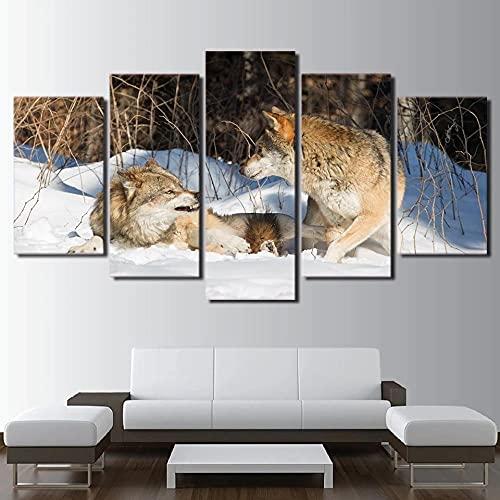 ZHONGZHONG Cuadros Modernos Impresión De Imagen Artística Digitalizada,Lienzo Decorativo para Tu Salón O Dormitorio con Marco Lobo De Pareja De Animales 5 Piezas 150X80Cm