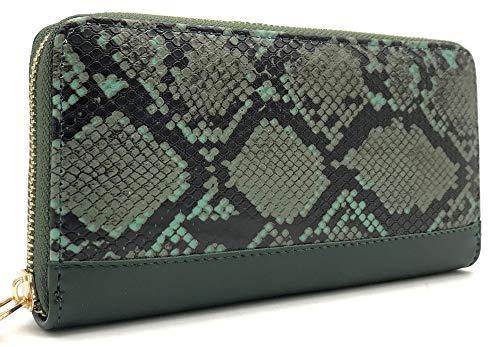 Dielay Dames Portemonnee Slangenprint Imitatie Slangenleer Ritssluiting 19x10 cm Groen