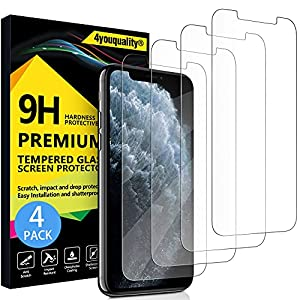 4youquality [4-Pack] Screen Protector for iPhone 11 Pro, iPhone Xs and iPhone X, Tempered Glass Film Screen Protector, 5.8-Inch, [LifetimeWarranty][Anti-Scratch][Anti-Shatter]