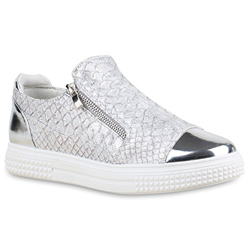 Damen Sneakers Zipper Metallic Cap Sneaker Low Kroko Print Sport Trainers Flach Turn Flats Slip-Ons Schuhe 134348 Silber 37 Flandell