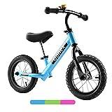 Gonex Bicicleta sin Pedales para Niños, Bicicleta de Equilibrio 12', Correpasillos Minibike Balance Bike con Rueda de Goma Inflable & Manillar Sillín Ajustable para Niños Pequeños 2 a 6 Años (Azul)